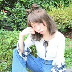 ミディアム ガーリー 夏 ゆるふわ ヘアスタイルや髪型の写真・画像
