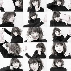グラデーションカラー ミディアム 暗髪 グレージュ ヘアスタイルや髪型の写真・画像