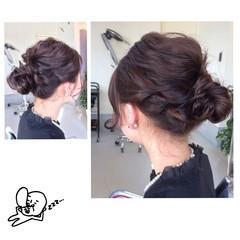 セミロング ナチュラル 結婚式 お団子 ヘアスタイルや髪型の写真・画像