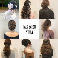 ヘアセット アップ セミロング ブライダル ヘアスタイルや髪型の写真・画像