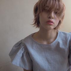 ハイトーン アンニュイ ピンク うざバング ヘアスタイルや髪型の写真・画像