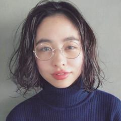 暗髪 無造作 外国人風 ボブ ヘアスタイルや髪型の写真・画像