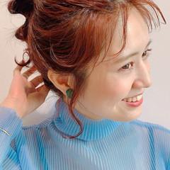 ヘアアレンジ アプリコットオレンジ 前髪アレンジ 簡単ヘアアレンジ ヘアスタイルや髪型の写真・画像