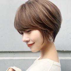 ハイライト ナチュラル 横顔美人 ショートボブ ヘアスタイルや髪型の写真・画像