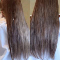 ハイライト フェミニン ロング アッシュ ヘアスタイルや髪型の写真・画像