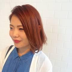ボブ ストリート マルサラ オレンジ ヘアスタイルや髪型の写真・画像