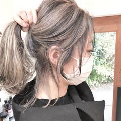グラデーションカラー インナーカラー セミロング ナチュラル ヘアスタイルや髪型の写真・画像