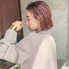 ボブ 名古屋市 ピンクベージュ ナチュラル ヘアスタイルや髪型の写真・画像