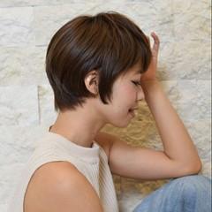ナチュラル ショート ショートボブ 前髪あり ヘアスタイルや髪型の写真・画像