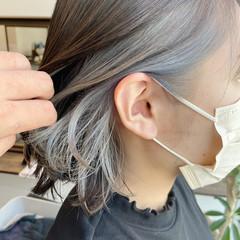 ボブ シルバー ホワイトシルバー モード ヘアスタイルや髪型の写真・画像