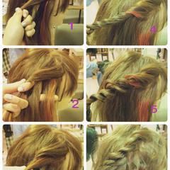 編み込み 大人かわいい ツイスト セミロング ヘアスタイルや髪型の写真・画像