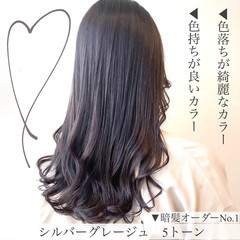 暗髪 ロング 透明感カラー グレージュ ヘアスタイルや髪型の写真・画像