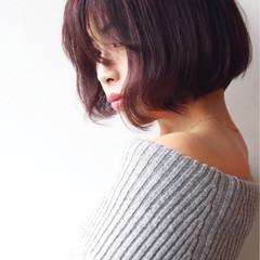 ピンク エレガント グレージュ ボブ ヘアスタイルや髪型の写真・画像