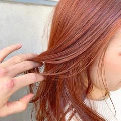 アプリコットオレンジ オレンジカラー オレンジベージュ オレンジ ヘアスタイルや髪型の写真・画像