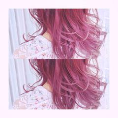 グラデーションカラー パープル フェミニン おフェロ ヘアスタイルや髪型の写真・画像