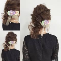 ヘアアレンジ モテ髪 ミディアム 結婚式 ヘアスタイルや髪型の写真・画像