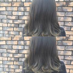 グラデーションカラー ハイライト セミロング アッシュ ヘアスタイルや髪型の写真・画像