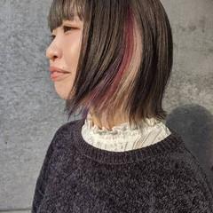 インナーカラー インナーピンク インナーカラーパープル インナーカラーホワイト ヘアスタイルや髪型の写真・画像