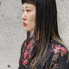 前髪 ロング ナチュラル 切りっぱなし ヘアスタイルや髪型の写真・画像