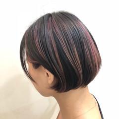 グラデーションカラー ピンク ハイライト ボブ ヘアスタイルや髪型の写真・画像