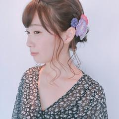 花火大会 ヘアアレンジ ミディアム フェミニン ヘアスタイルや髪型の写真・画像