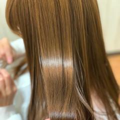 髪質改善 ヌーディーベージュ 髪質改善カラー セミロング ヘアスタイルや髪型の写真・画像
