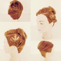 ガーリー 編み込み セミロング アップスタイル ヘアスタイルや髪型の写真・画像