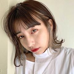 韓国風ヘアー ブリーチカラー ナチュラル ミディアム ヘアスタイルや髪型の写真・画像