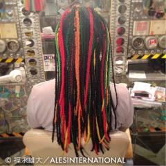 エクステ ストリート 編み込み ストレート ヘアスタイルや髪型の写真・画像