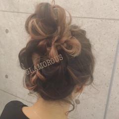 ヘアアレンジ お団子 外国人風 グラデーションカラー ヘアスタイルや髪型の写真・画像