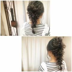 簡単ヘアアレンジ 編み込み ナチュラル ショート ヘアスタイルや髪型の写真・画像