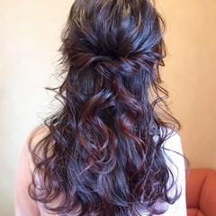 エレガント ハーフアップ 暗髪 大人かわいい ヘアスタイルや髪型の写真・画像