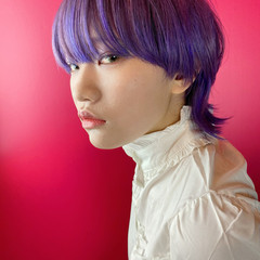 ダブルカラー マッシュショート パープルカラー モード ヘアスタイルや髪型の写真・画像