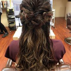 波ウェーブ 編み込み 結婚式 くるりんぱ ヘアスタイルや髪型の写真・画像