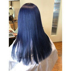 ブルージュ ブルー セミロング 暗髪 ヘアスタイルや髪型の写真・画像