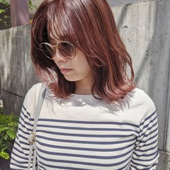 外国人風カラー モード ピンク ミディアム ヘアスタイルや髪型の写真・画像