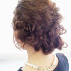 ヘアアレンジ セミロング 編み込み ロープ編み ヘアスタイルや髪型の写真・画像