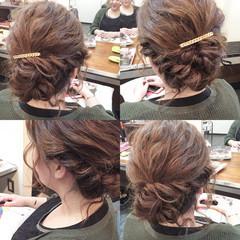 編み込み ヘアアレンジ ミディアム フェミニン ヘアスタイルや髪型の写真・画像