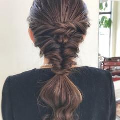 編み込み 結婚式 セミロング フェミニン ヘアスタイルや髪型の写真・画像
