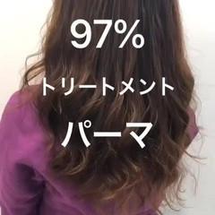 デジタルパーマ パーマ ナチュラル セミロング ヘアスタイルや髪型の写真・画像