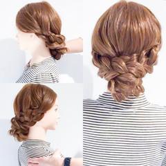 結婚式 三つ編み 謝恩会 ヘアアレンジ ヘアスタイルや髪型の写真・画像