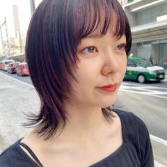 レイヤースタイル ミディアム マッシュウルフ レイヤーカット ヘアスタイルや髪型の写真・画像