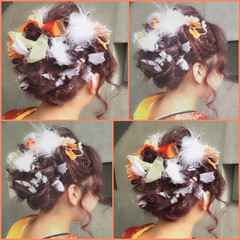 ミディアム ショート ヘアアレンジ フェミニン ヘアスタイルや髪型の写真・画像
