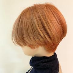 オレンジ ショートヘア ショート アプリコットオレンジ ヘアスタイルや髪型の写真・画像