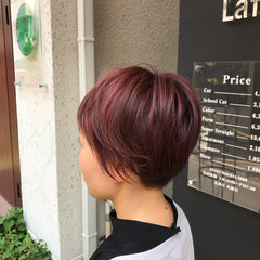 3Dハイライト ハイライト ショート ベリーピンク ヘアスタイルや髪型の写真・画像