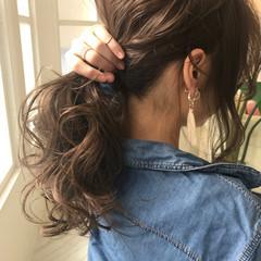 ヘアアレンジ ポニーテール ガーリー セミロング ヘアスタイルや髪型の写真・画像