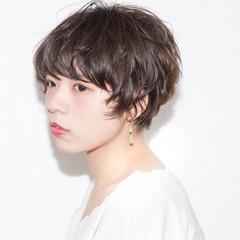 デート ニュアンス 小顔 ショート ヘアスタイルや髪型の写真・画像