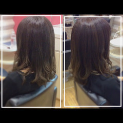 艶髪 ハイトーンカラー ロング バレイヤージュ ヘアスタイルや髪型の写真・画像