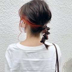 ヘアアレンジ ミディアム ラーメンマンヘア 簡単ヘアアレンジ ヘアスタイルや髪型の写真・画像