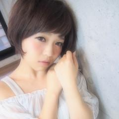 前髪あり フェミニン ショート 似合わせ ヘアスタイルや髪型の写真・画像